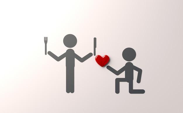 Piada na ilustração do dia dos namorados 3d