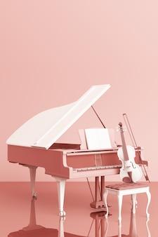Piano de cauda com um violino na renderização em 3d cor de rosa pastel