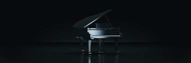 Piano de cauda em fundo escuro renderização 3d