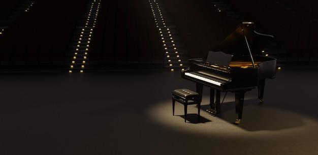 Piano de cauda iluminado por um holofote em um teatro com muitos assentos atrás com escadas iluminadas. renderização 3d