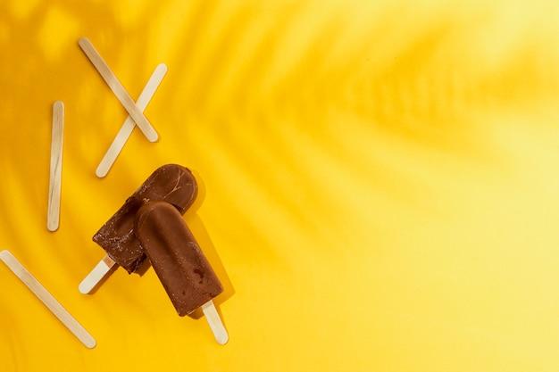 Picolé caseiro de sorvete de chocolate e sombra de folhas