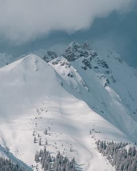 Picos de montanhas cobertos de neve