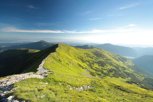 Picos nas montanhas dos cárpatos na fronteira eslovaca-polonesa