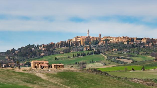 Pienza. paisagem na toscana. itália, valle d'orcia