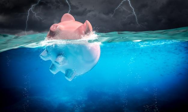 Piggybank flutua no mar tempestuoso