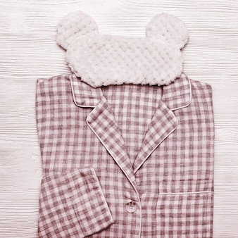 Pijama de algodão vermelho macio com padrão xadrez,