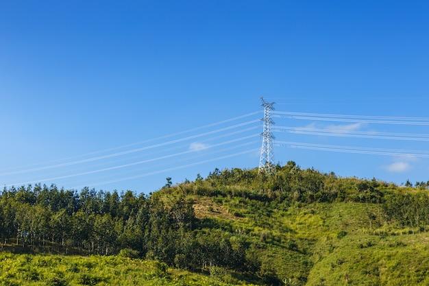 Pilão de energia de torre de transmissão elétrica de alta tensão