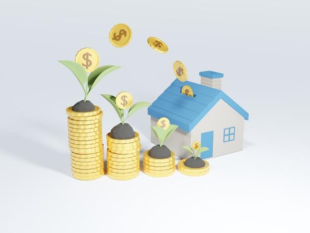 Pilha 3d de moedas e cofrinho em forma de casa