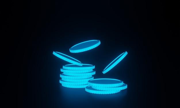 Pilha 3d de moedas em fundo preto
