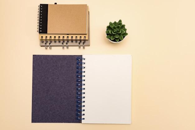 Pilha amigável do eco da vista superior de cadernos, com o espaço da cópia, feito do papel reciclado em um fundo pastel. maquete para seus projetos