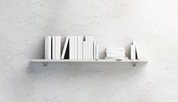 Pilha branca em branco de maquete de livros na prateleira