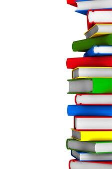 Pilha colorida de livros em um fundo branco