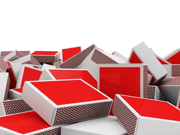 Pilha da caixa de fósforos vermelha isolada no fundo branco