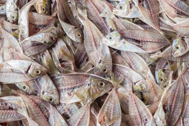 Pilha da vista superior de esqueleto dos peixes após a filetagem. fundo de alimentos