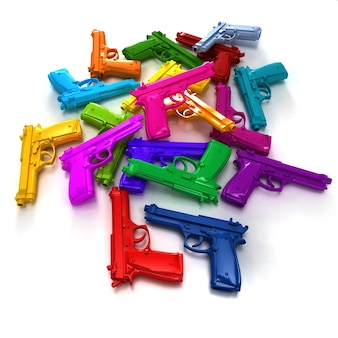 Pilha de armas em diferentes cores brilhantes