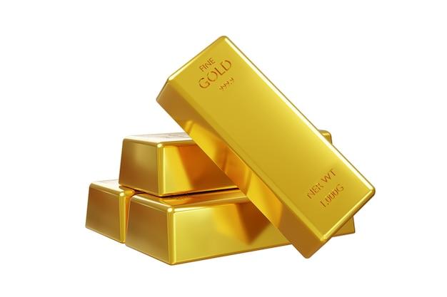 Pilha de barra de ouro isolada em fundo branco