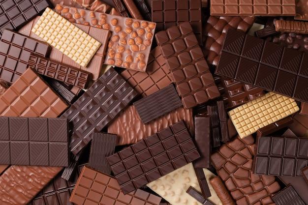 Pilha de barras de chocolate