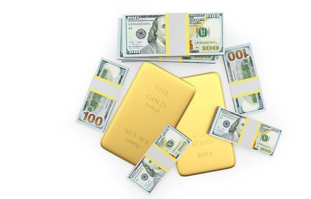 Pilha de barras de ouro com vista superior de notas de dólar em 3d