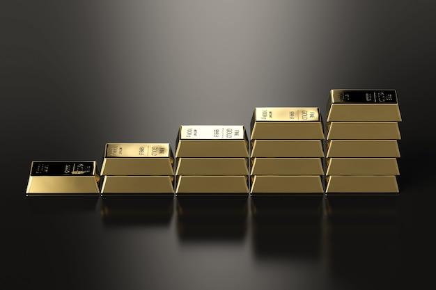 Pilha de barras de ouro de renderização 3d no alto à medida que o preço do ouro sobe