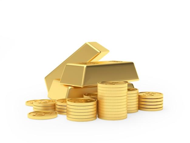 Pilha de barras de ouro e moedas de dólar
