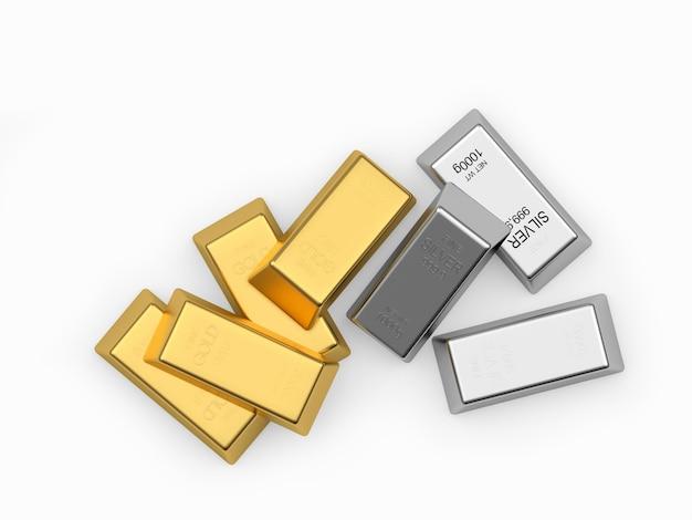 Pilha de barras de ouro e prata
