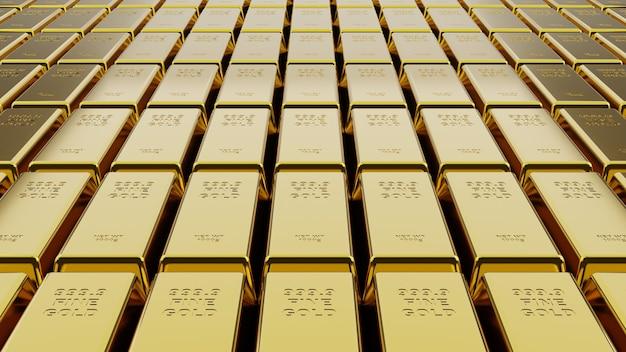 Pilha de barras de ouro em close-up