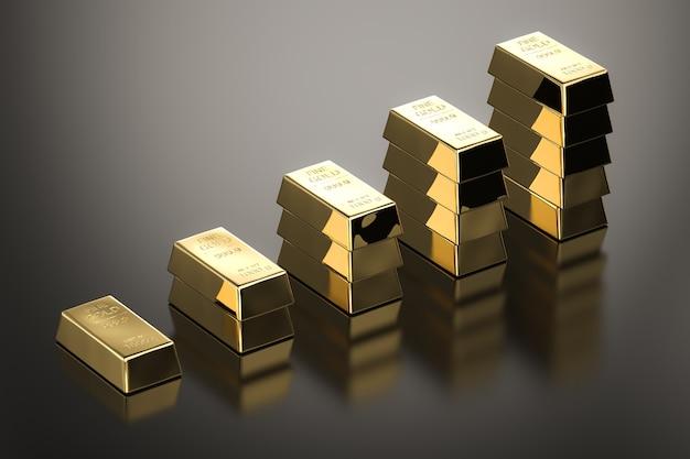 Pilha de barras de ouro no alto com o aumento do preço do ouro