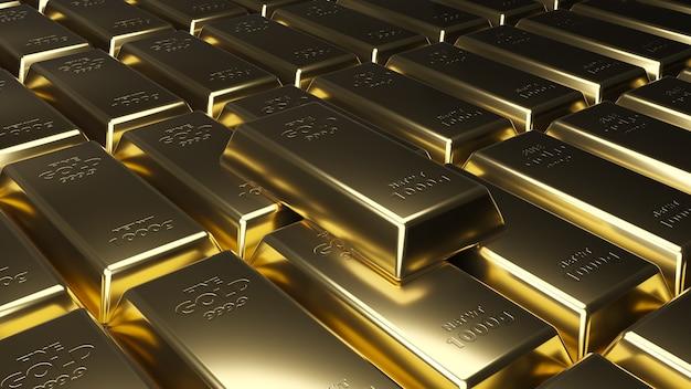 Pilha de barras de ouro.
