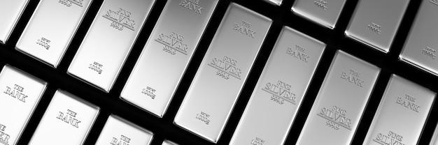 Pilha de barras de prata no fundo abstrato do cofre do banco