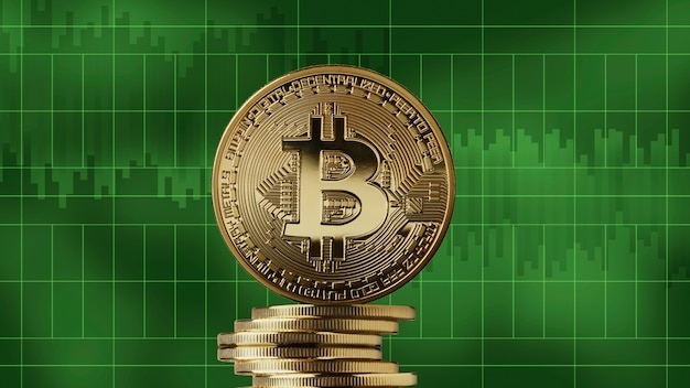 Pilha de bitcoin de moedas de ouro em um fundo de gráficos de mercado verde. conceito de negociação de criptomoeda e blockchain. crescimento da criptomoeda, pode ser usado para vídeo ou capa de site ou boas notícias