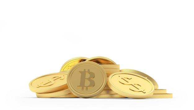 Pilha de bitcoin e moedas de ouro em dólar renderização em 3d
