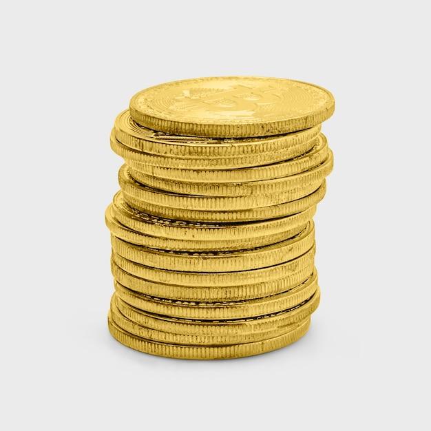 Pilha de bitcoins dourados