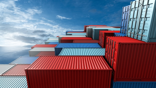 Pilha de caixa de contêineres, navio de carga para logística de importação exportação