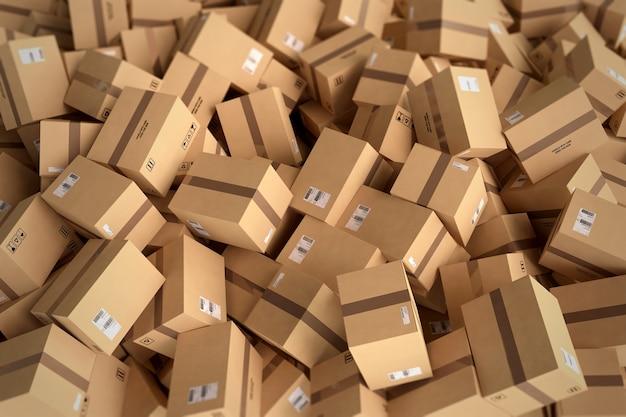 Pilha de caixas de papelão fechadas e embrulhadas com adesivo. renderização 3d