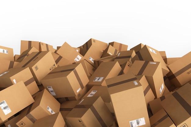 Pilha de caixas de papelão fechadas. renderização em 3d
