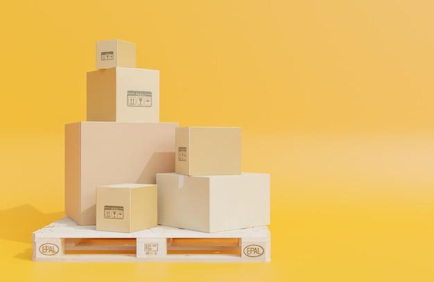 Pilha de caixas de papelão para a entrega de mercadorias em paletes de madeira, pacotes em fundo amarelo., modelo 3d e ilustração.
