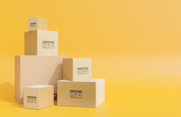 Pilha de caixas de papelão para a entrega de mercadorias, encomendas em fundo amarelo., modelo 3d e ilustração.
