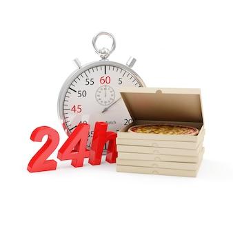 Pilha de caixas de pizza com cronômetro