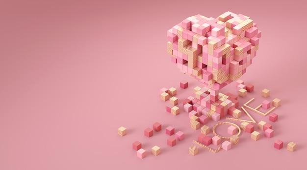 Pilha de caixas em forma de coração