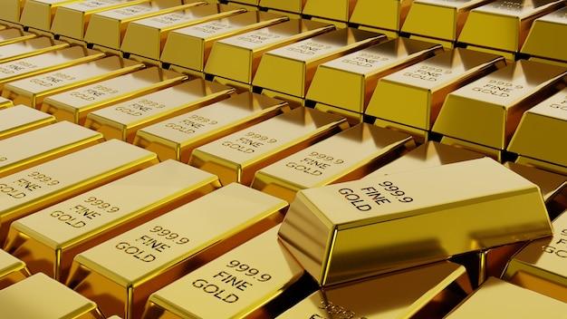 Pilha de close-up do conceito de barras de barras de ouro de riqueza financeira e reserva. renderização 3d.