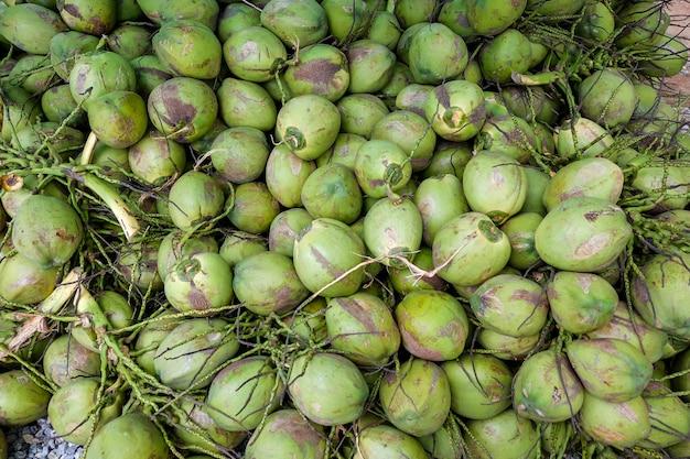 Pilha, de, coco, grupo, de, cocos, corte, de, coqueiro