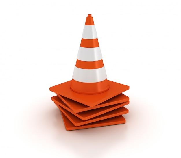 Pilha de cones de trânsito