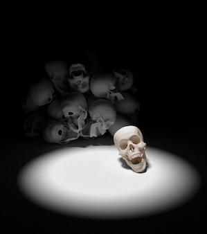 Pilha de crânios no chão. Conceito de apocalipse e inferno. Renderização 3D.