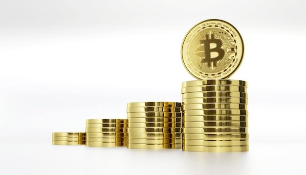 Pilha de criptomoeda digital bitcoin 3d render ilustração de fundo