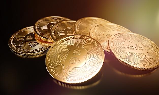 Pilha de criptomoedas, bitcoin. ilustração de renderização 3d.