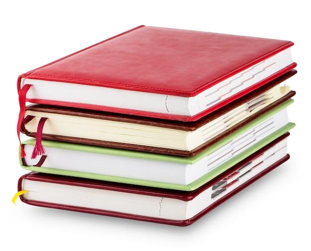 Pilha de diário colorido com marcadores