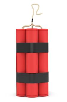 Pilha de dinamite vermelha em um fundo branco