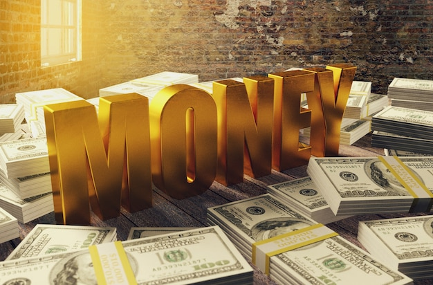 Pilha de dinheiro dólar com letras de dinheiro dourado, renderização em 3d