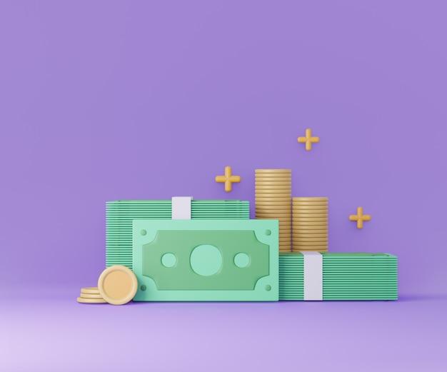 Pilha de dinheiro e moedas em fundo roxo. poupar dinheiro, sem dinheiro. ilustração 3d render.