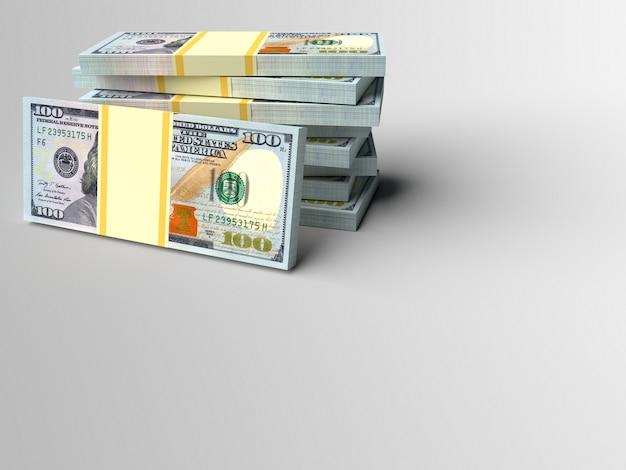 Pilha de dinheiro em dólares com fundo cinza de finanças em branco